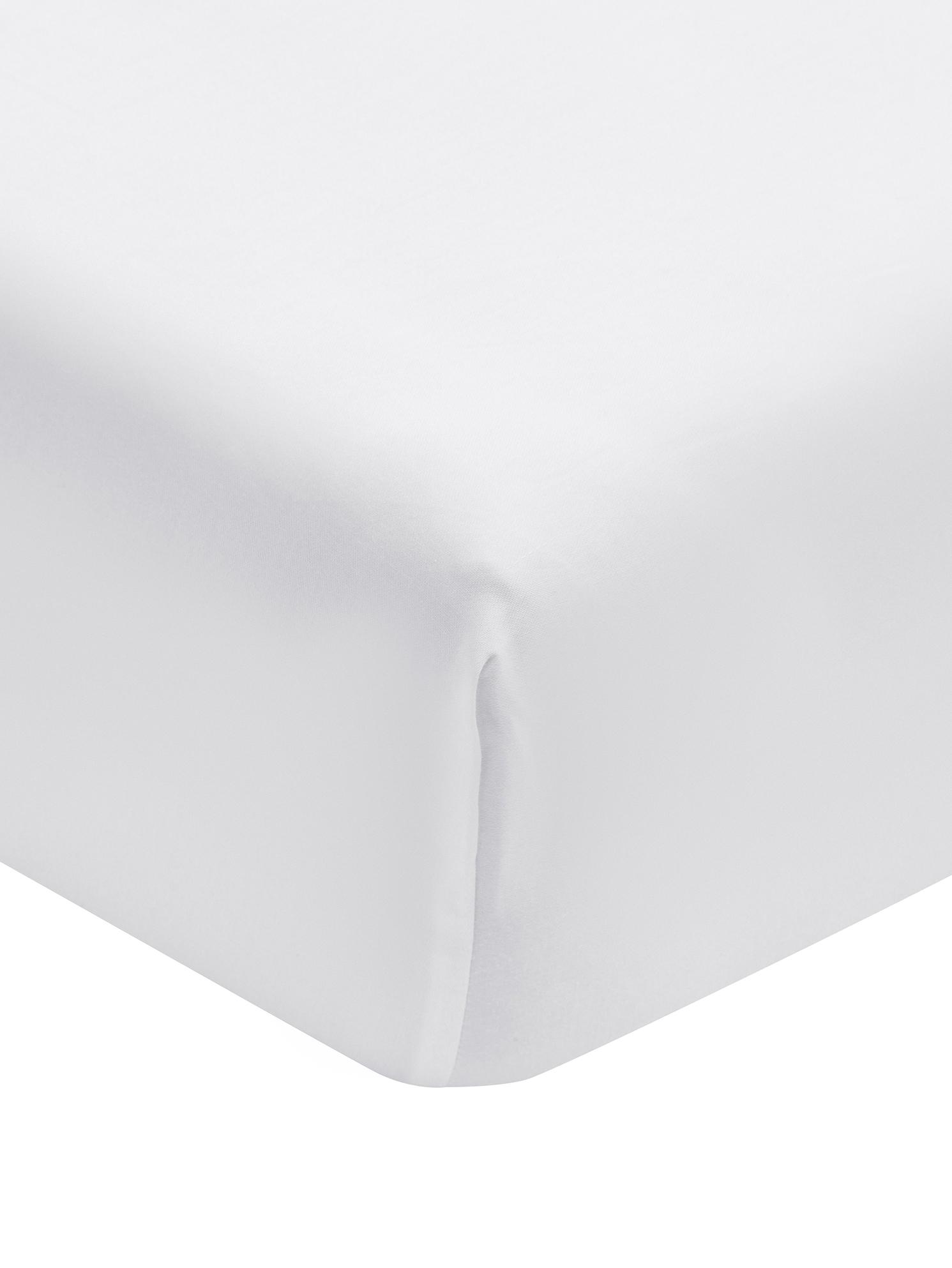 Spannbettlaken Premium in Weiß, Baumwollsatin, Webart: Satin, leicht glänzend, Weiß, 140 x 200 cm