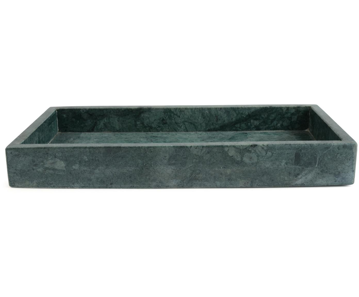 Vassoio decorativo in marmo Mera, Marmo, Verde marmorizzato, Larg. 30 x Prof. 15 cm