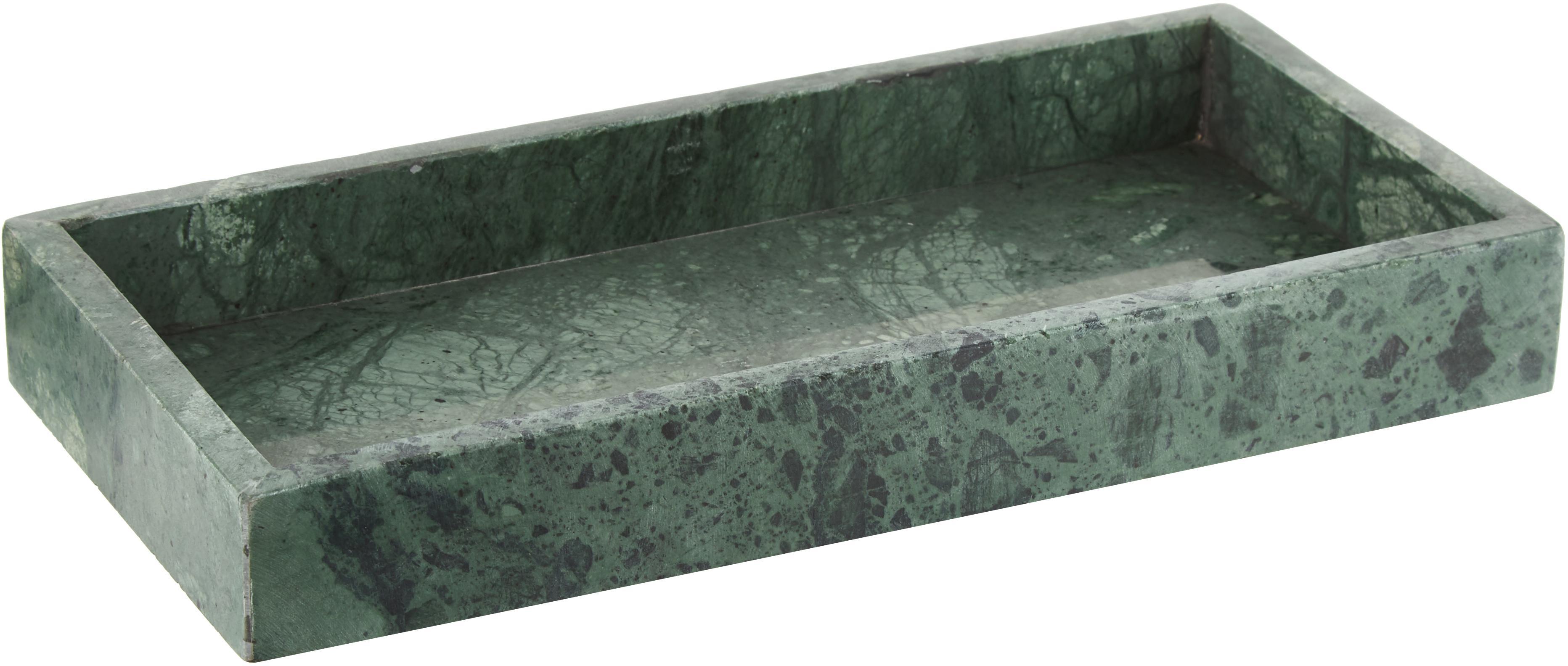 Taca dekoracyjna z marmuru Mera, Marmur, Zielony, marmurowy, S 30 x G 15 cm