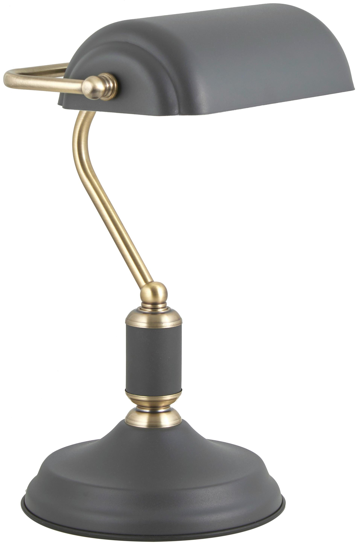 Lámpara de escritorio Bank, estilo retro, Pantalla: metal recubierto, Estructura: metal recubierto, Cable: plástico, Gris antracita, latón, An 22 x Al 34 cm