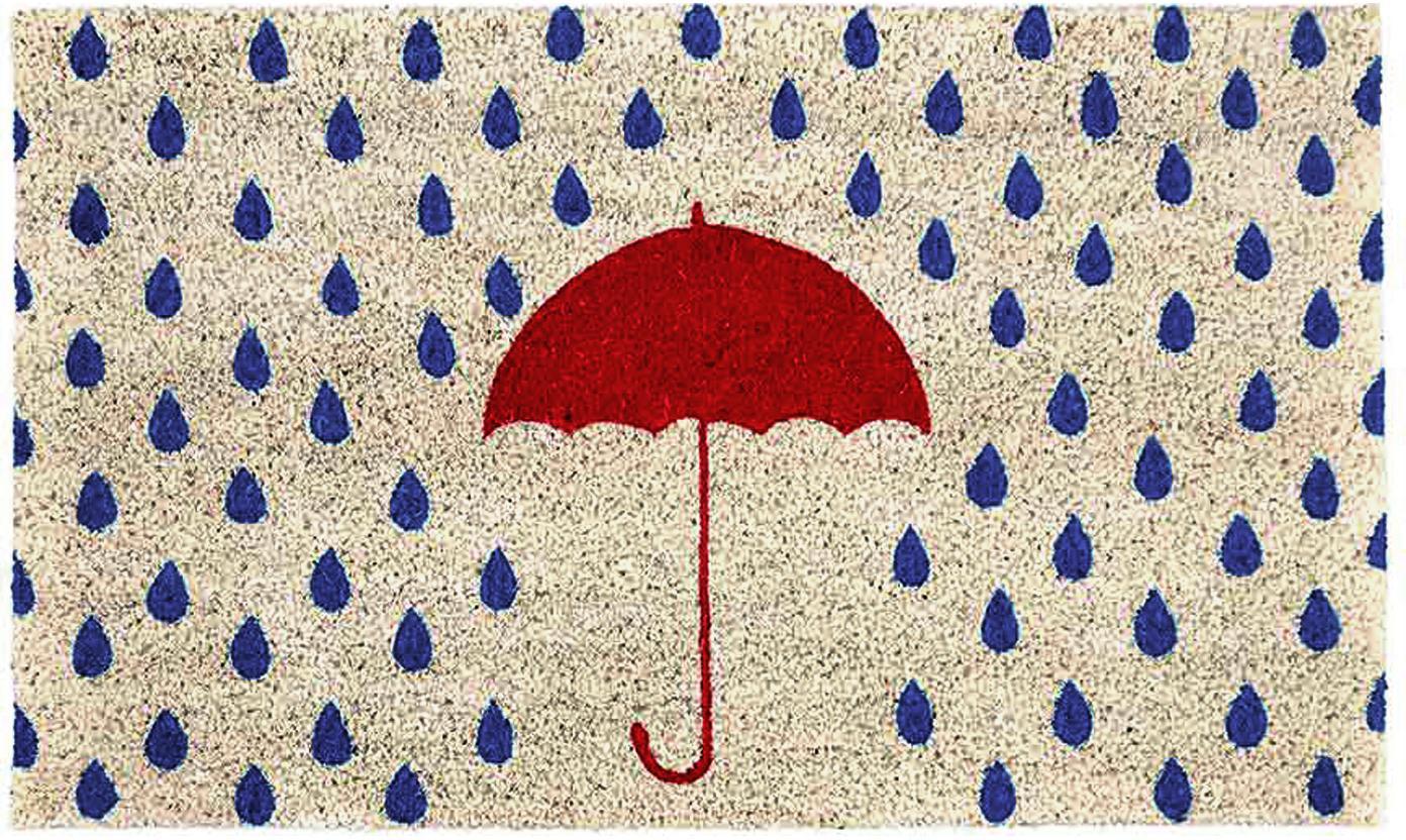 Zerbino Rainy, Fibra di cocco, Beige chiaro, blu, rosso, Larg. 45 x Lung. 75 cm