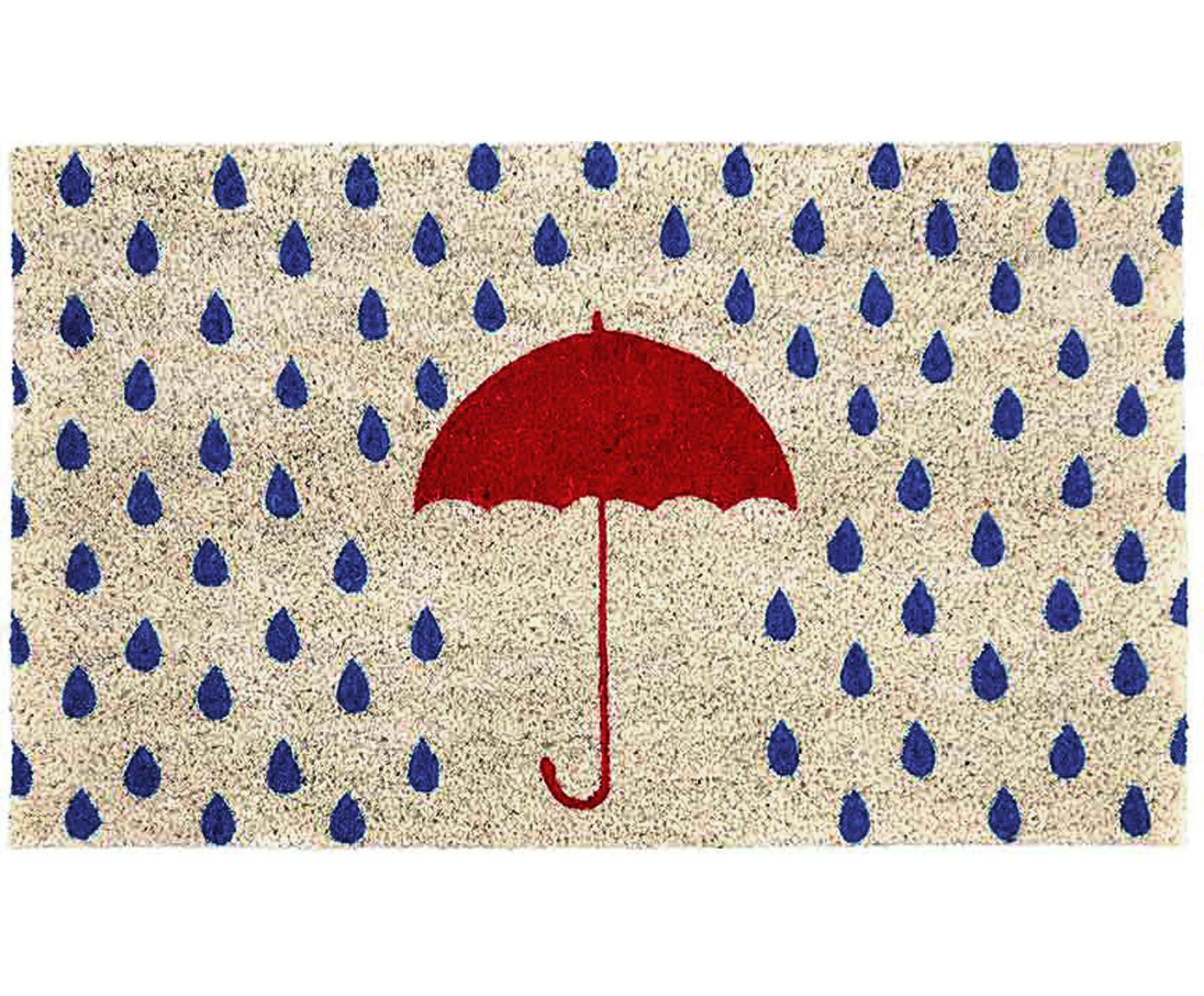 Deurmat Rainy, Kokosvezels, Lichtbeige, blauw, rood, 45 x 75 cm