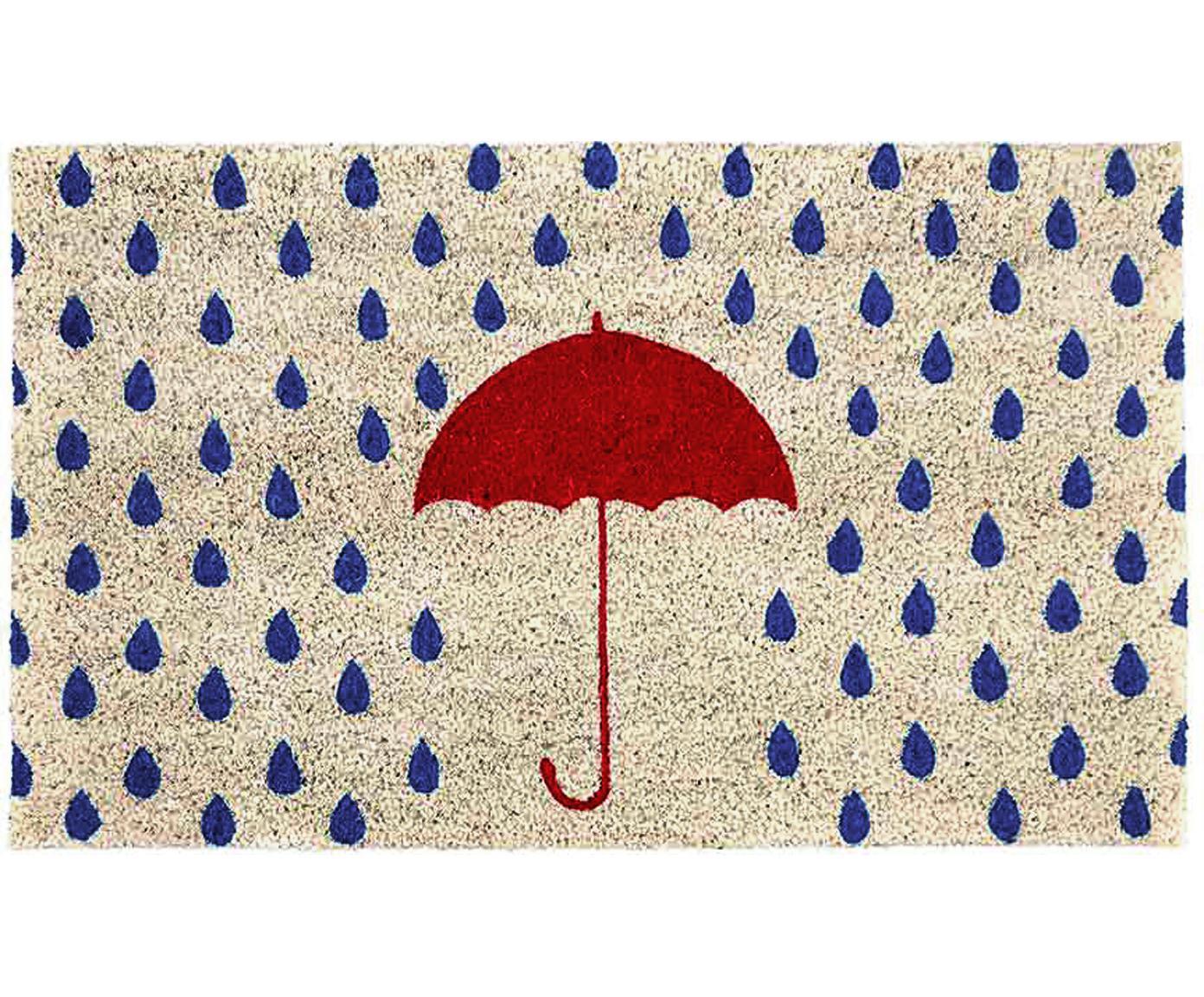 Felpudo Rainy, Parte superior: fibras de coco, Reverso: plástico (PVC), Beige claro, azul, rojo, An 45 x L 75 cm
