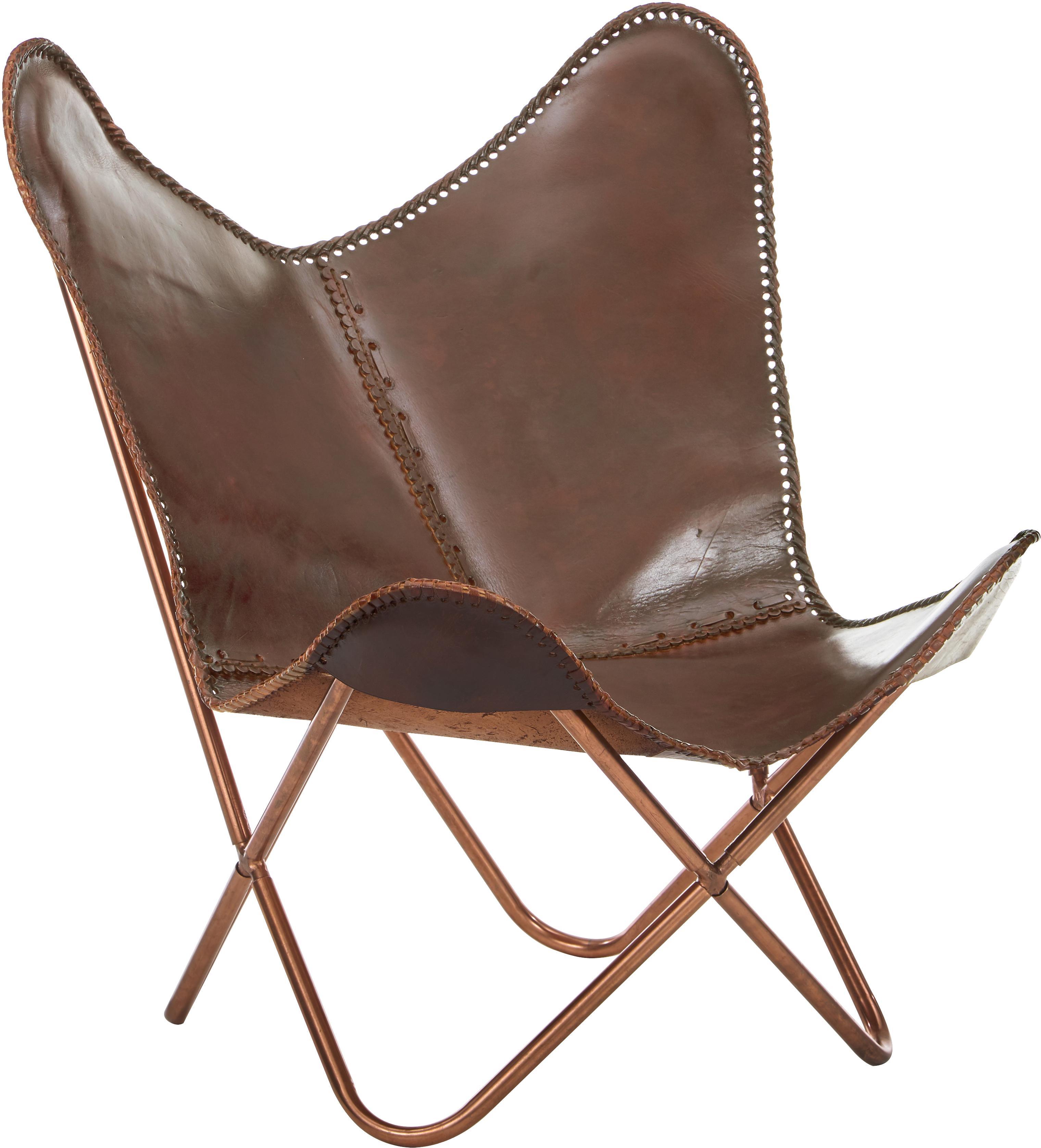 Fotel ze skóry Butterfly, Tapicerka: skóra bydlęca, Stelaż: metal lakierowany, Brązowy, S 80 x W 87 cm