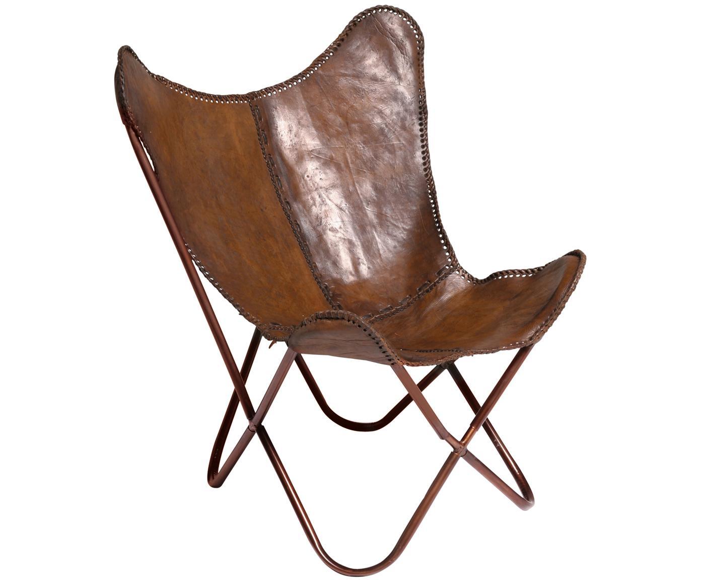 Leren fauteuil Butterfly, Bekleding: runderleer, Frame: gelakt metaal, Bruin, 80 x 87 cm