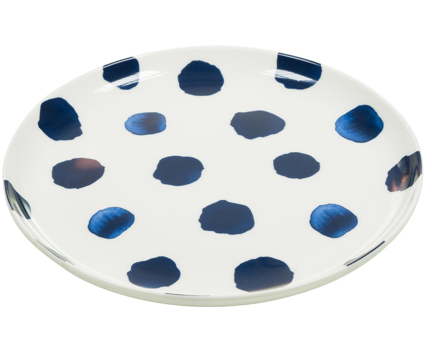 Piatto da colazione Dots, Porcellana, Blu,bianco, Ø 21 cm