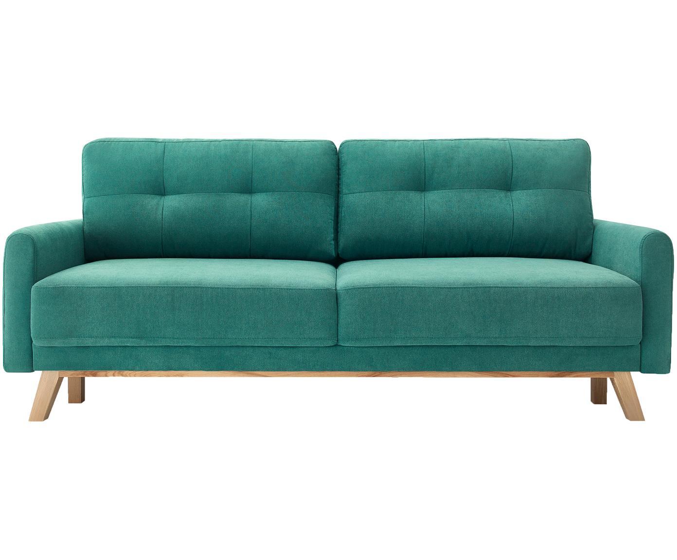 Sofa rozkładana z aksamitu Balio (3-osobowa), Tapicerka: 100% aksamit poliestrowy, Nogi: metal lakierowany, Szmaragdowy, S 216 x G 86 cm