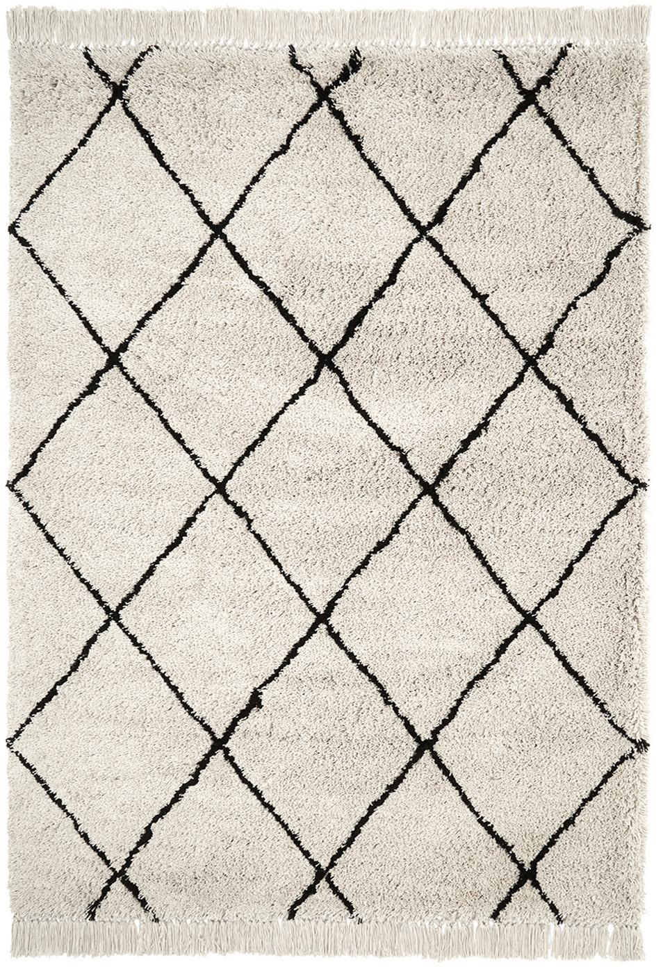 Flauschiger Hochflor-Teppich Naima mit Fransen, handgetuftet, Flor: Polyester, Beige, Schwarz, B 200 x L 300 cm (Grösse L)