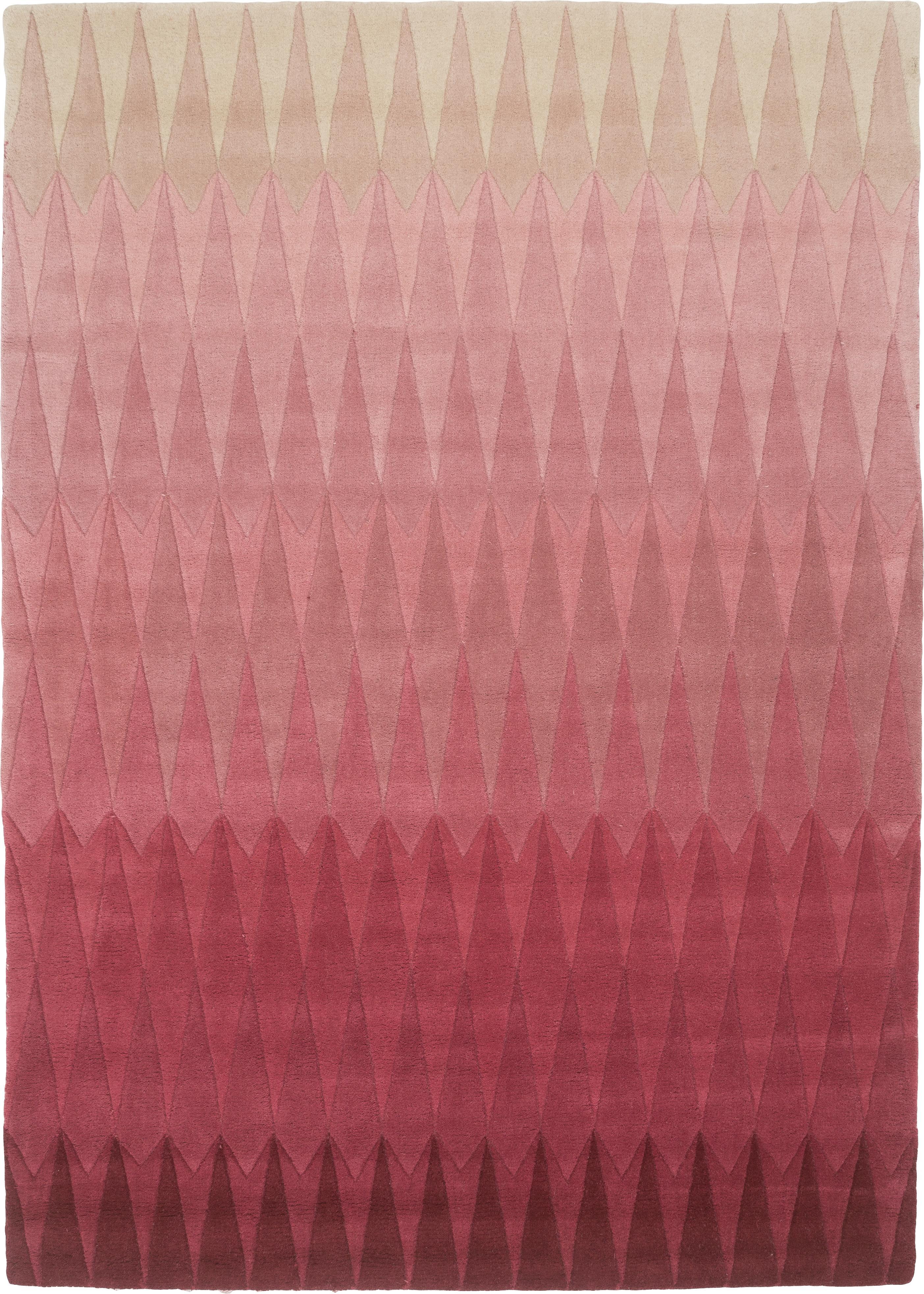 Alfombra artesanal de lana de diseño Acacia, Rosa, An 170 x L 240 cm (Tamaño M)