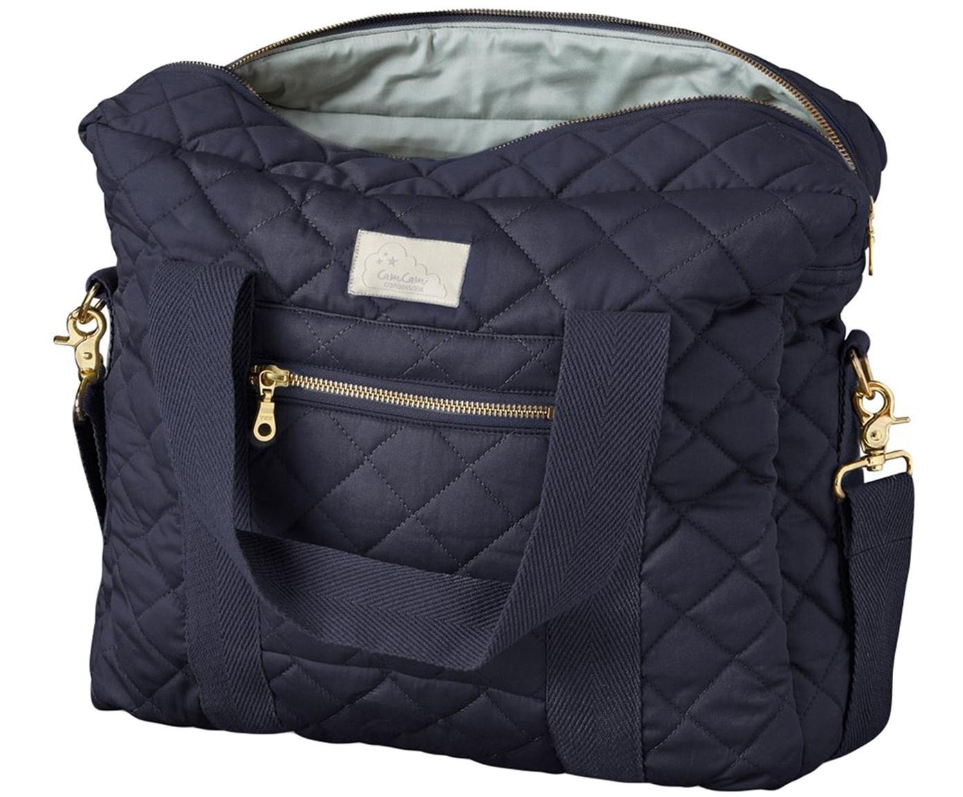 Bolsa para pañales de algodón ecológico Camila, Exterior: algodón ecológico, certif, Azul marino, An 39 x Al 31 cm