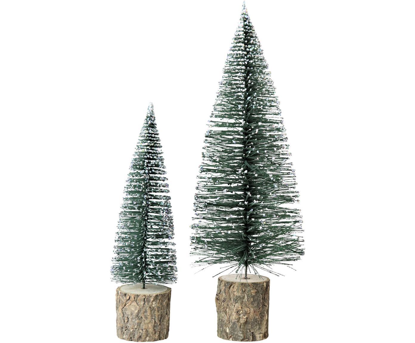 Komplet dekoracji Greenwood, 2 elem., Choinka: zielony, biały Cokół: brązowy, Różne rozmiary