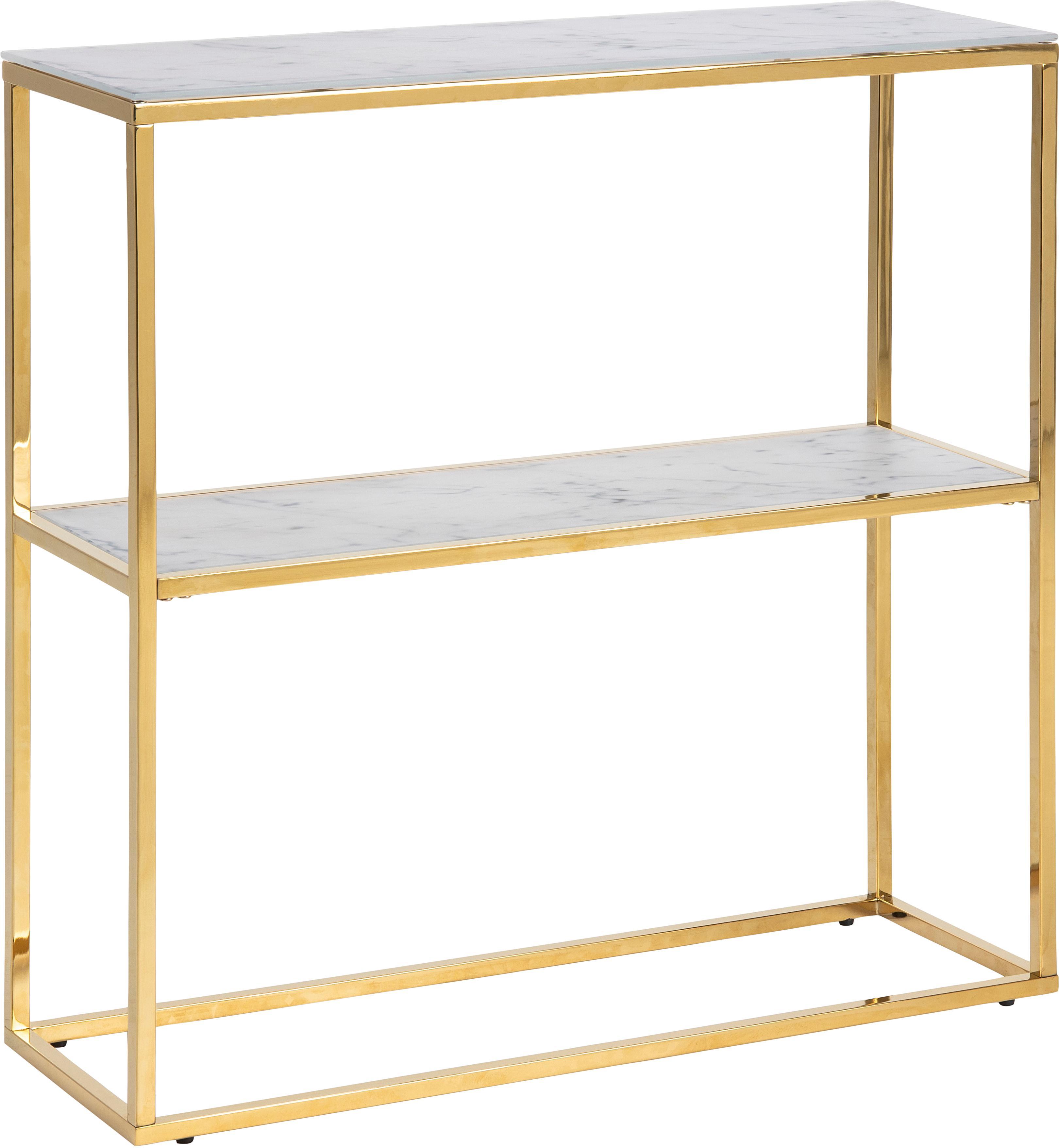 Ripiano in metallo effetto marmo Aruba, Piano d'appoggio: vetro, Struttura: metallo sventato, Bianco, dorato, Larg. 80 x Alt. 81 cm
