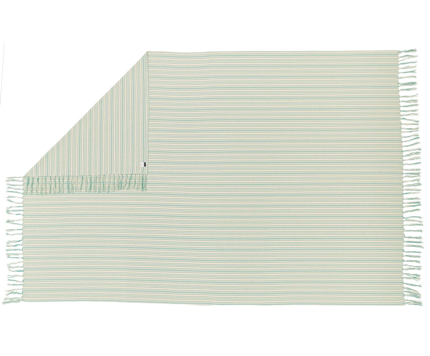 Narzuta z frędzlami Puket, Bawełna, Turkusowy, złamana biel, S 180 x D 260 cm