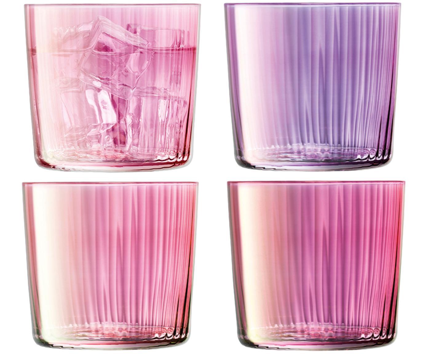 Vasos con relieve de vidrio soplados Gemas, 4uds., Vidrio soplado artesanalmente, Tonos rosas y lilas, Ø 8 x Al 7 cm