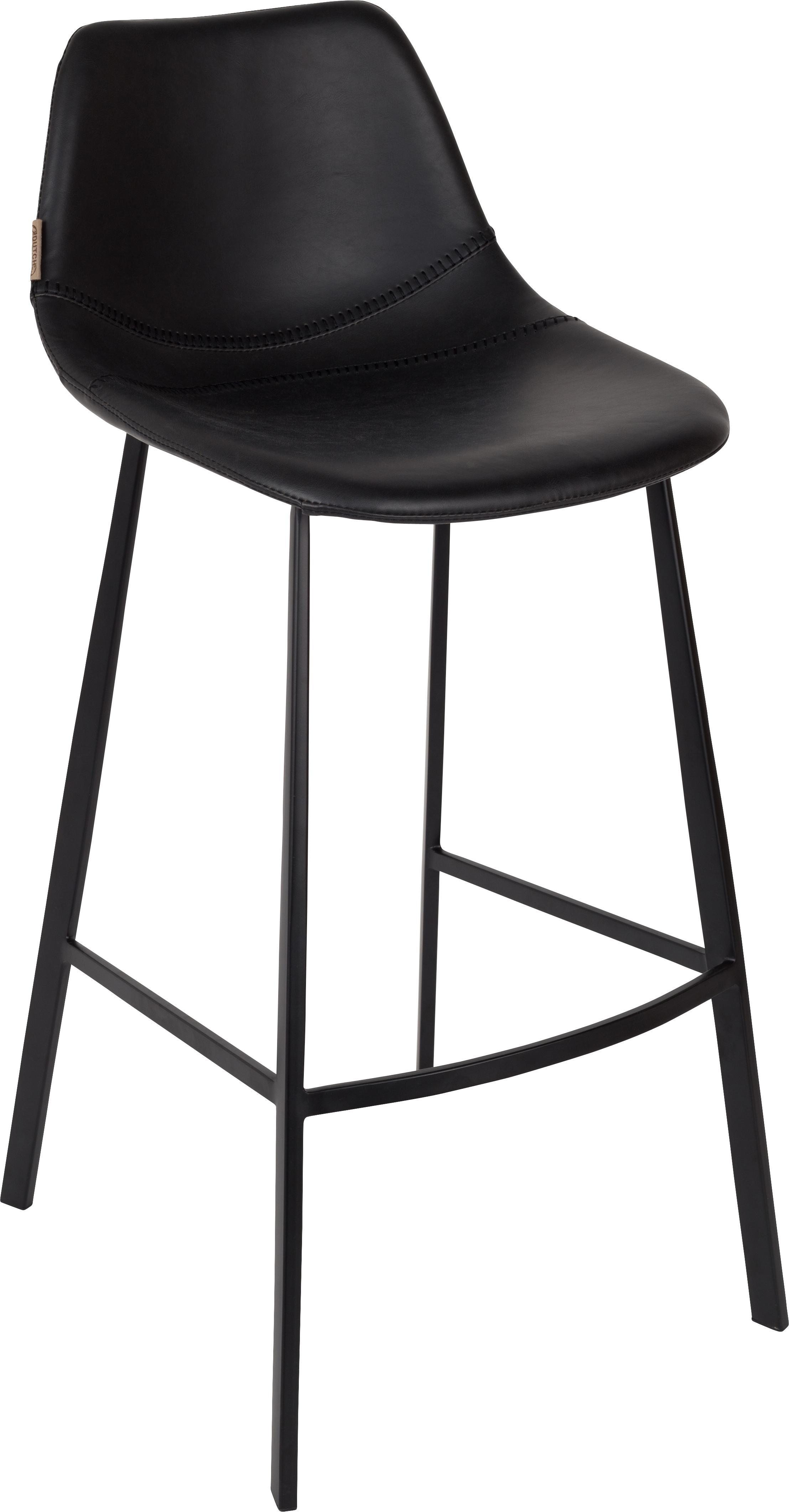 Kunstleren barkruk Franky, Bekleding: kunstleer (polyurethaan), Poten: gepoedercoat staal, Bekleding: zwart in Used Look Poten: zwart, 50 x 106 cm