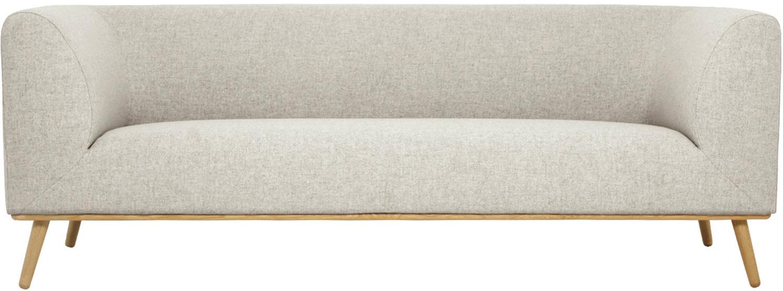 Bank Archie (3-zits), Bekleding: 100% wol, Frame: grenenhout, Poten: geolied massief eikenhout, Lampenkap: grijs. Lampvoet: grijs. Snoer: wit, B 222 x D 90 cm
