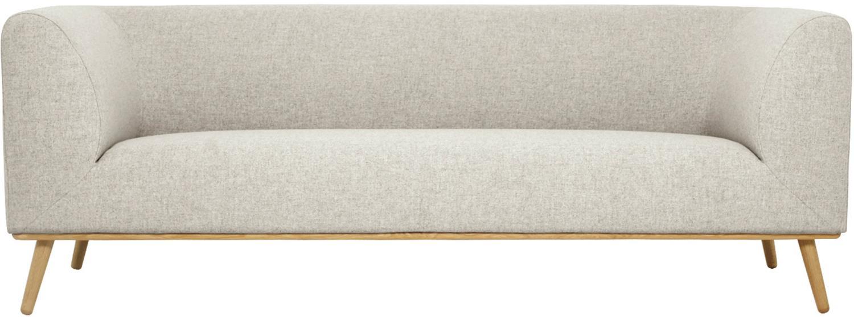 Divano 3 posti in tessuto beige Archie, Rivestimento: 100% lana 30.000 cicli di, Struttura: legno di pino, Piedini: legno di quercia massicci, Tessuto beige, Larg. 222 x Prof. 90 cm