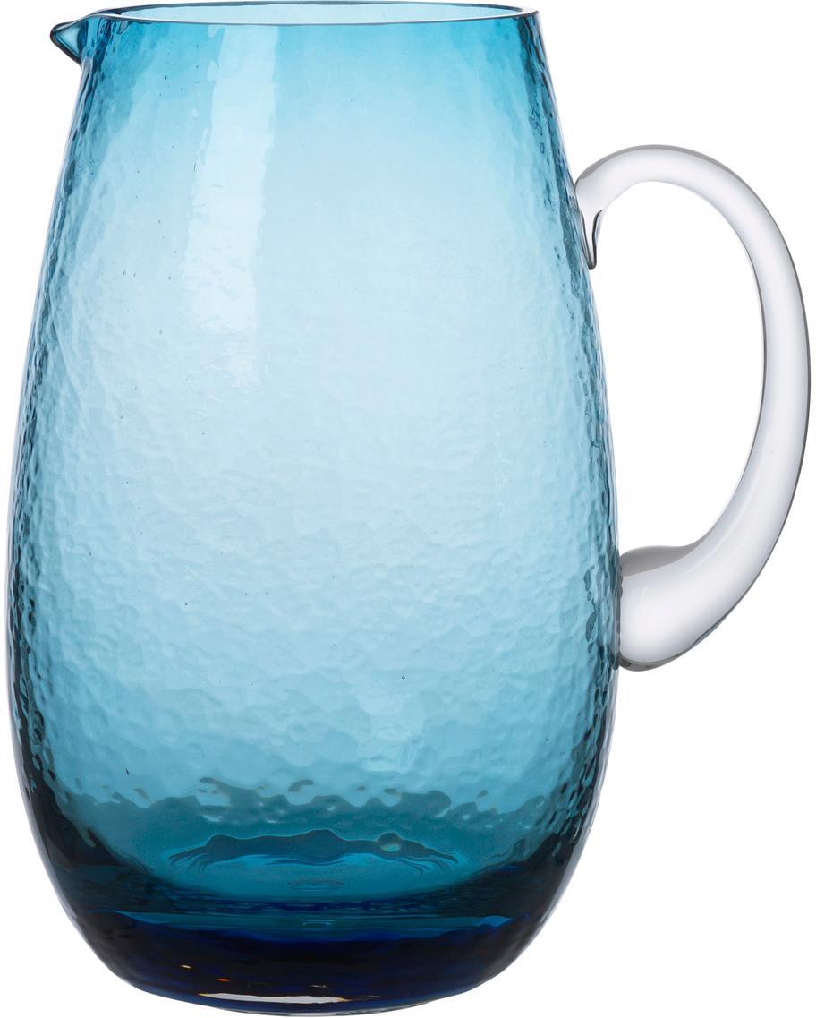 Brocca in vetro soffiato Hammered, Vetro soffiato, Blu trasparente, 2 L