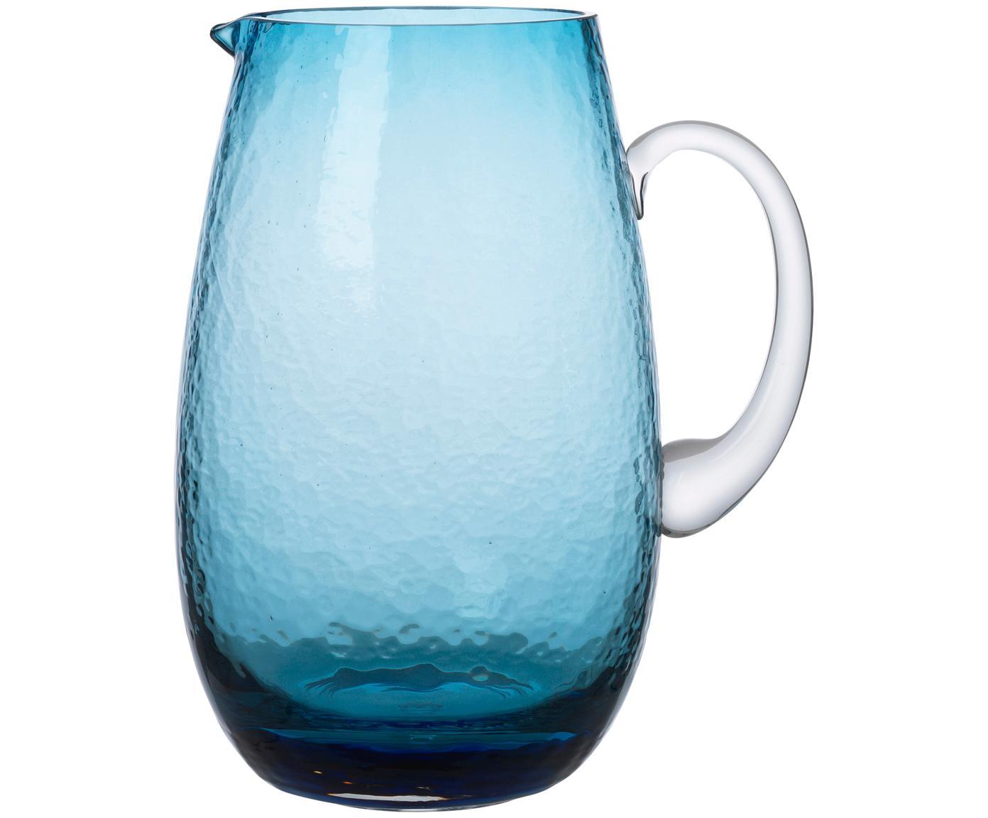Dzbanek ze szkła dmuchanego Hammered, Szkło dmuchane, Niebieski, transparentny, 2 l
