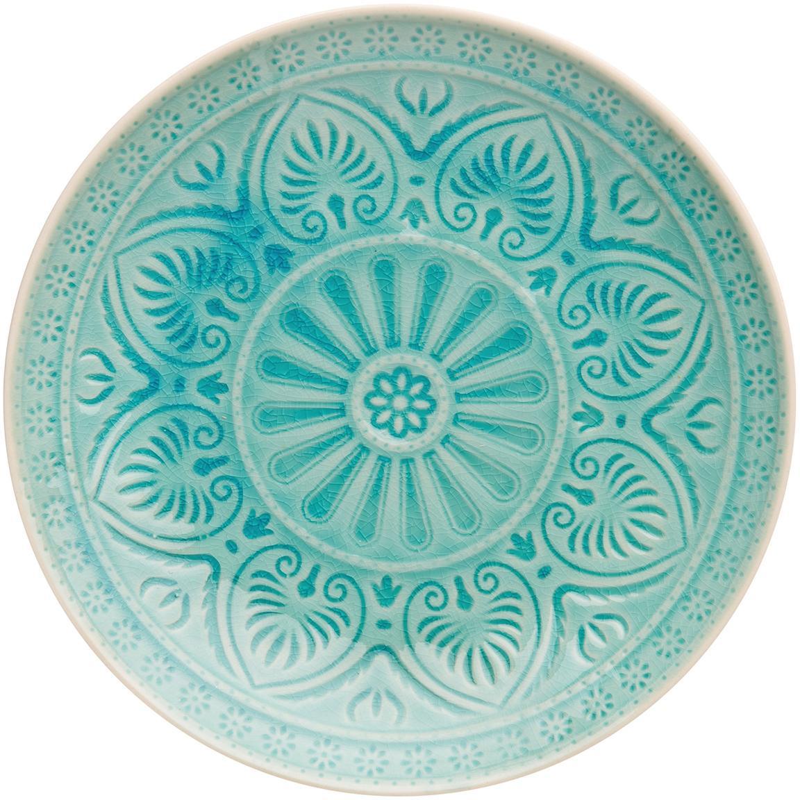 Plato llano artesanales Sumatra, Gres, Turquesa, Ø 25 cm