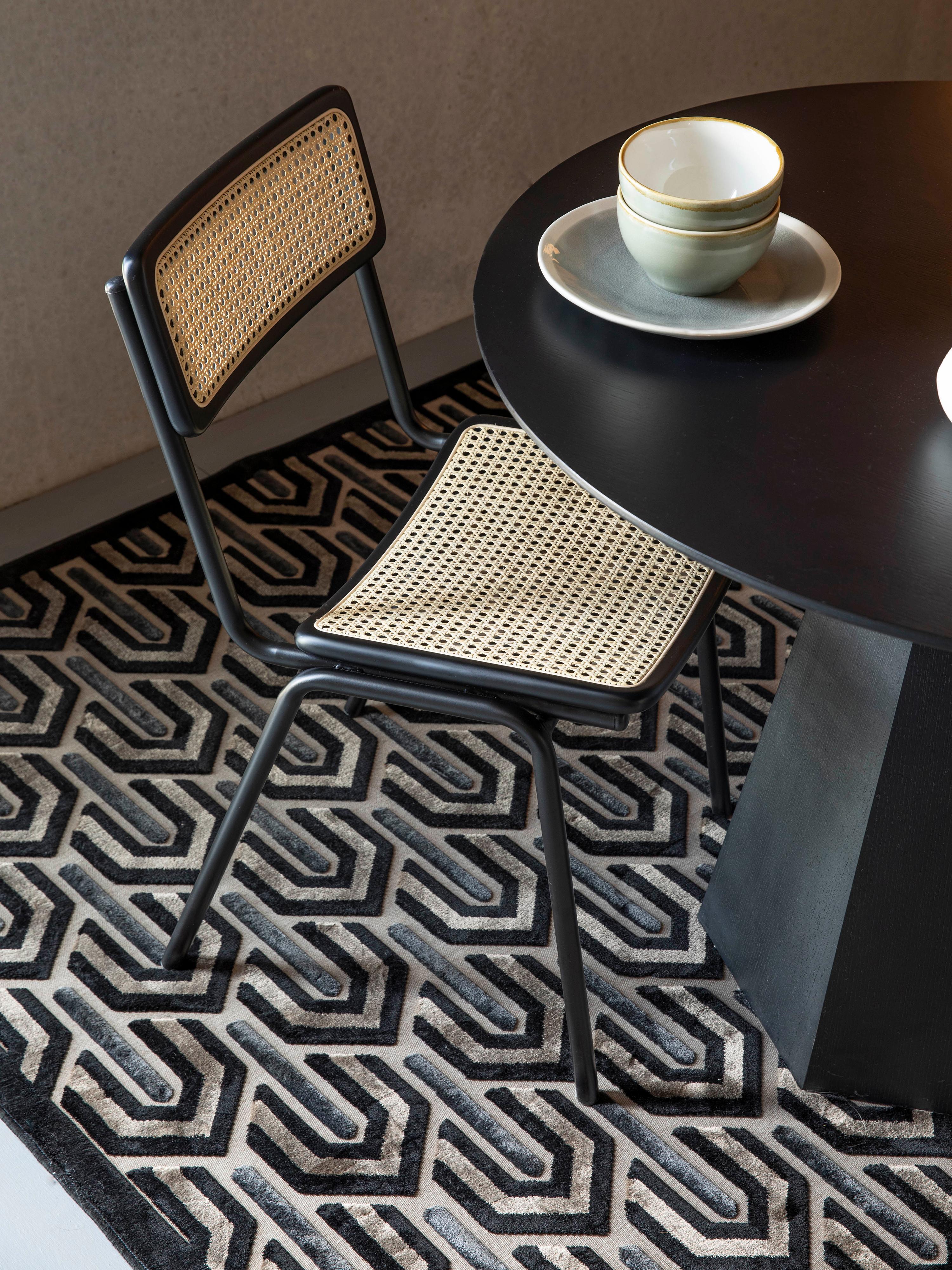 Teppich Beverly mit Hoch-Tief-Struktur, Flor: 57% Rayon, 31% Polyester,, Schwarz, Beige, Grau, B 200 x L 300 cm (Größe L)