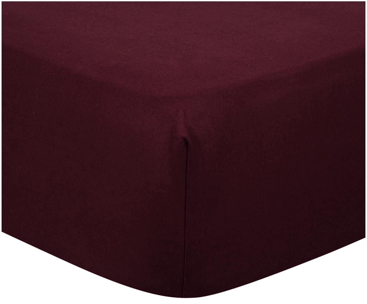 Lenzuolo con angoli in flanella Biba, Tessuto: flanella, Rosso scuro, Larg. 90 x Lung. 200 cm