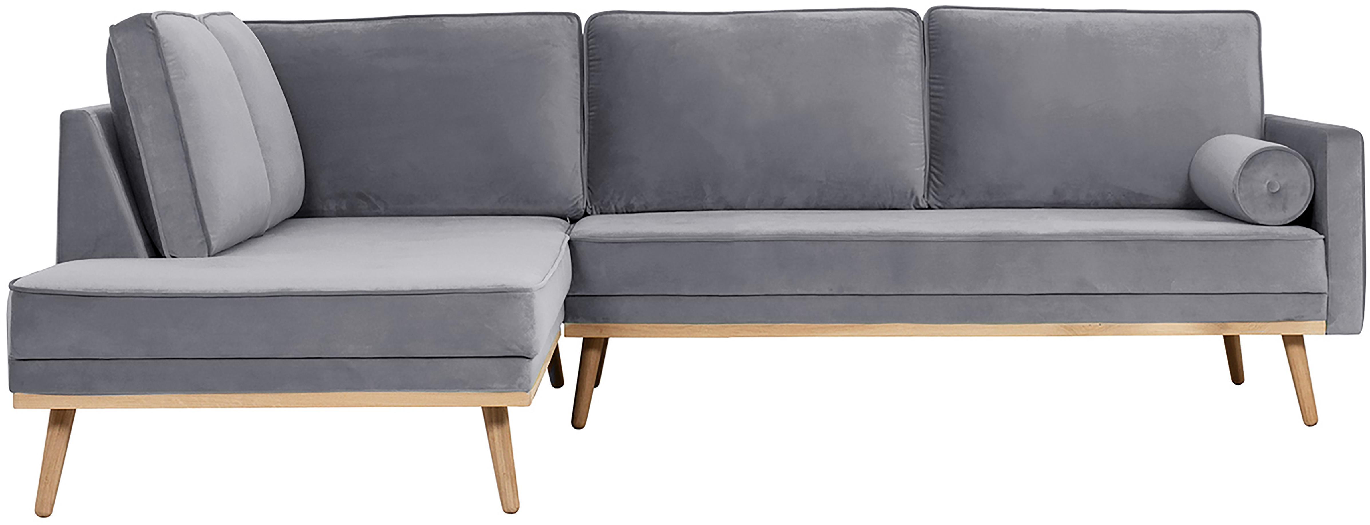 Fluwelen hoekbank Saint (3-zits), Bekleding: fluweel (polyester), Frame: massief eikenhout, spaanp, Grijs, B 243 x D 220 cm