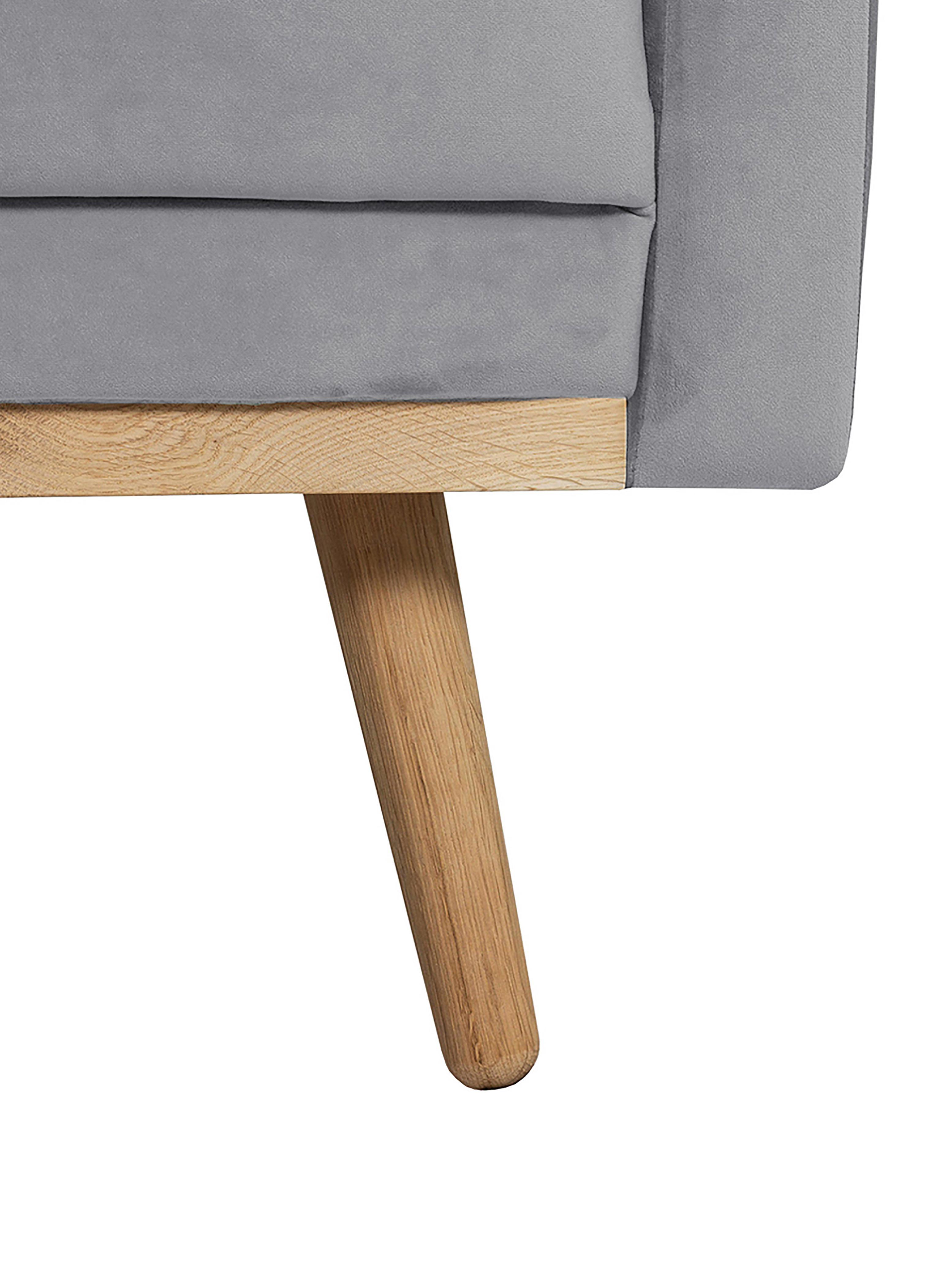 Samt-Ecksofa Saint (3-Sitzer), Bezug: Samt (Polyester) Der hoch, Gestell: Massives Eichenholz, Span, Samt Grau, B 243 x T 220 cm