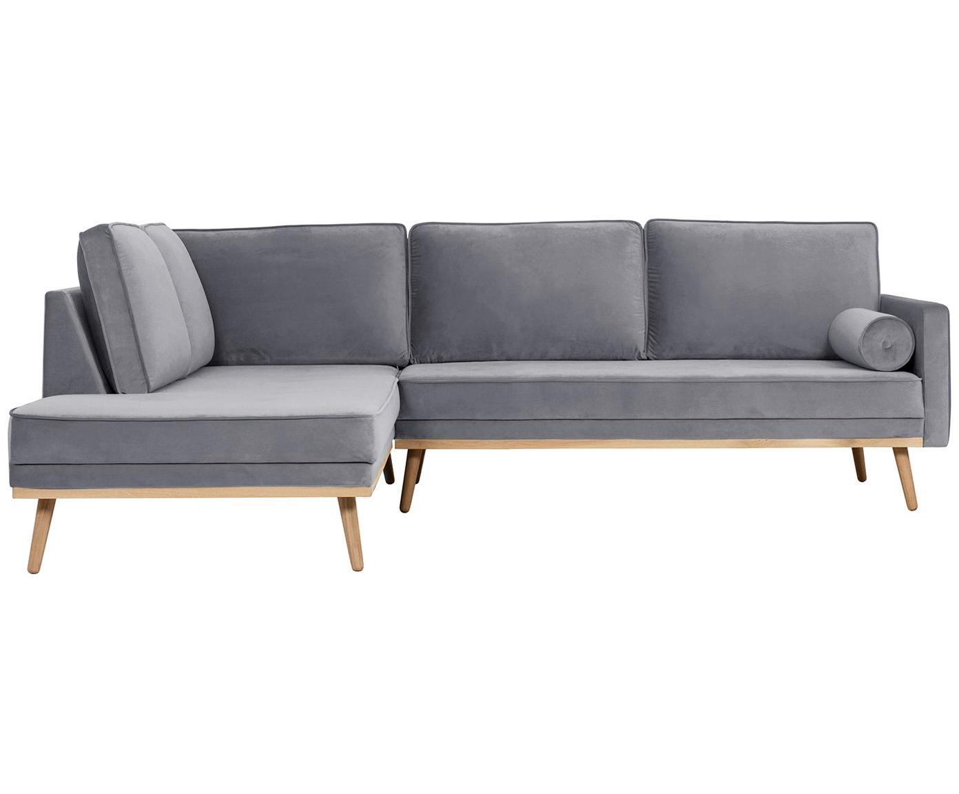 Sofa narożna z aksamitu Saint (3-osobowa), Tapicerka: aksamit (poliester) 3500, Stelaż: lite drewno dębowe, płyta, Aksamitny szary, S 243 x G 220 cm