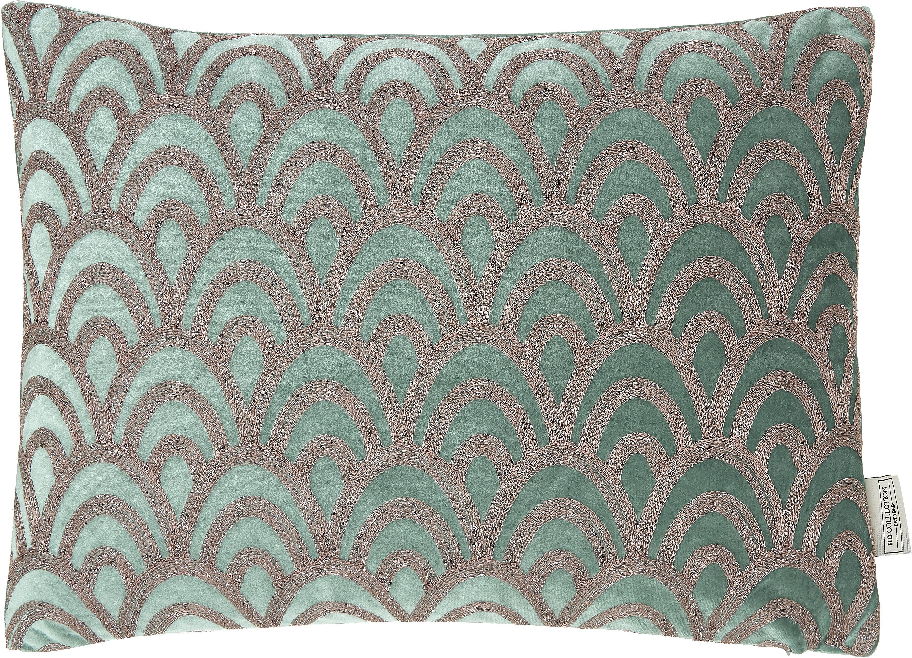 Fluwelen kussen Trole met glanzende borduurwerk, met vulling, 100% fluweel (polyester), Groen, zilverkleurig, 40 x 60 cm