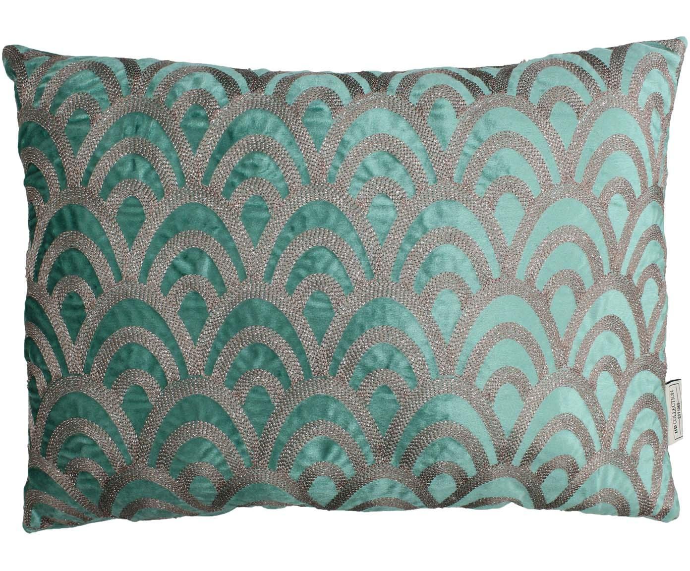 Fuwelen kussen Trole, Fluweel, Groen, zilverkleurig, 40 x 60 cm