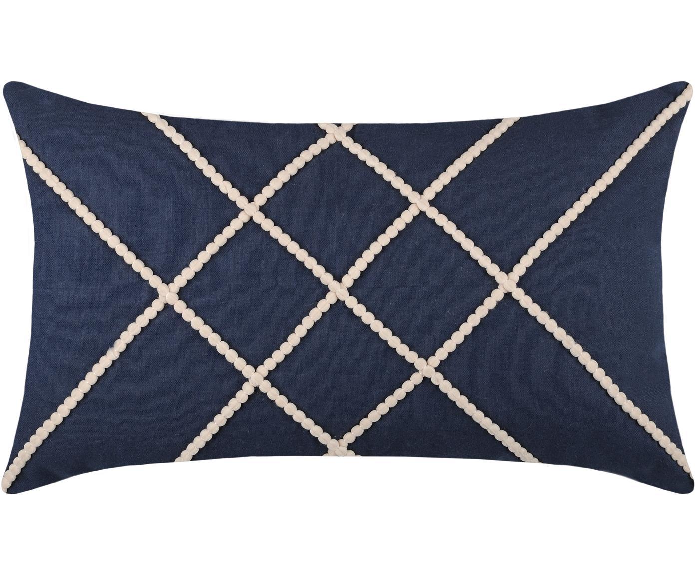 Kussen Concarneau Stripe, met vulling, Katoen, Donkerblauw, 30 x 50 cm