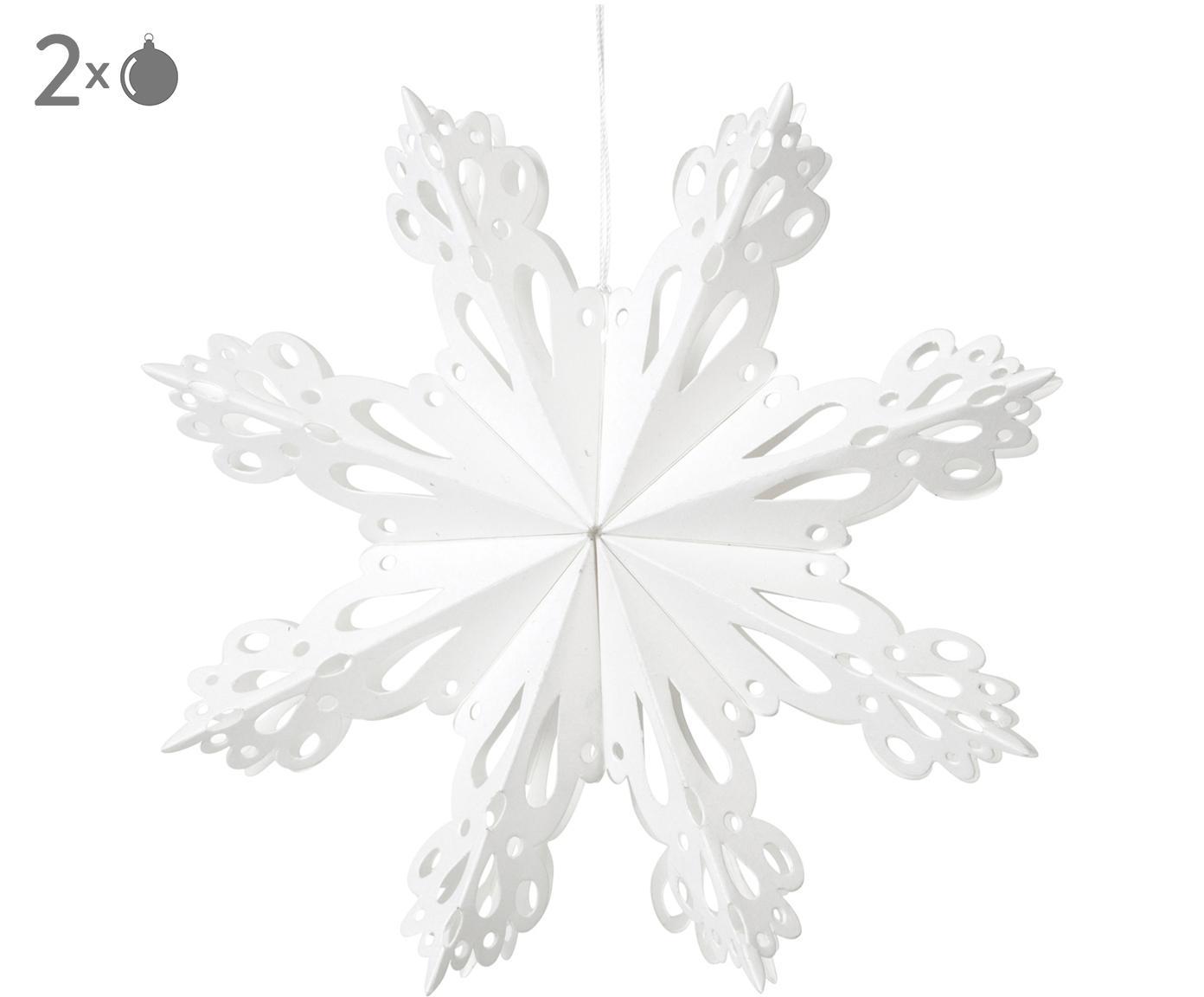 Ciondolo XL Snowflake, Carta, Bianco, Ø 15 cm