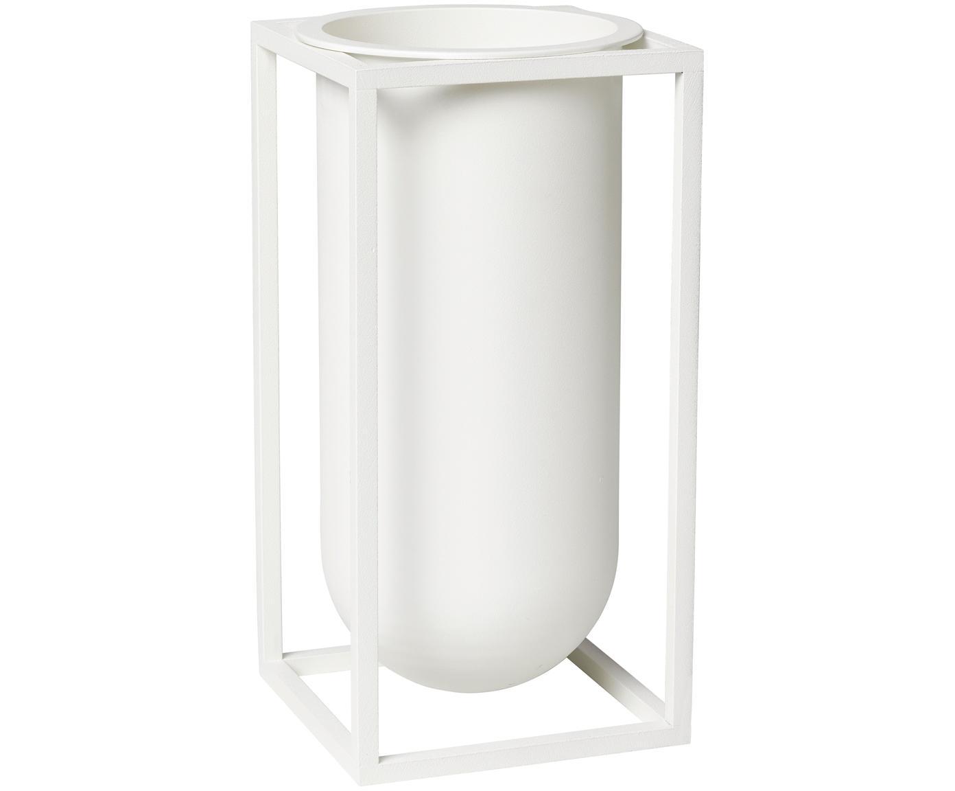 Handgemaakte vaas Kubus van aluminium, Gelakt aluminium, Wit, 10 x 20 cm