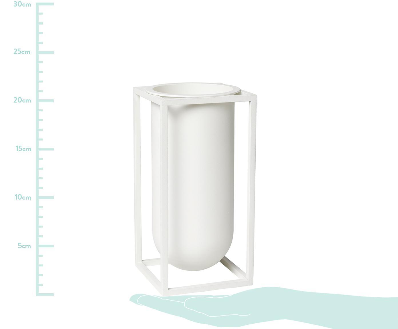 Handgefertigte Vase Kubus aus Aluminium, Aluminium, lackiert, Weiß, 10 x 20 cm