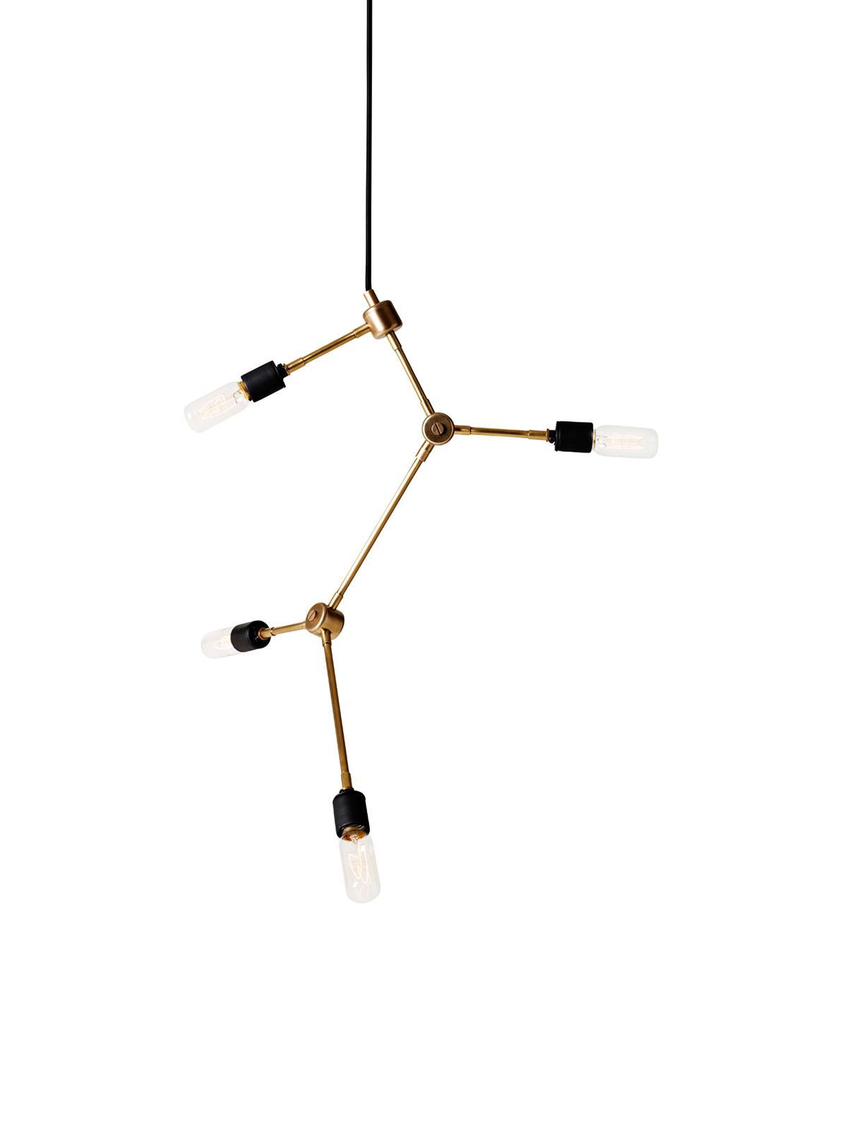 Retro hanglamp Franklin, Messing, Messingkleurig, Ø 56 x H 56 cm