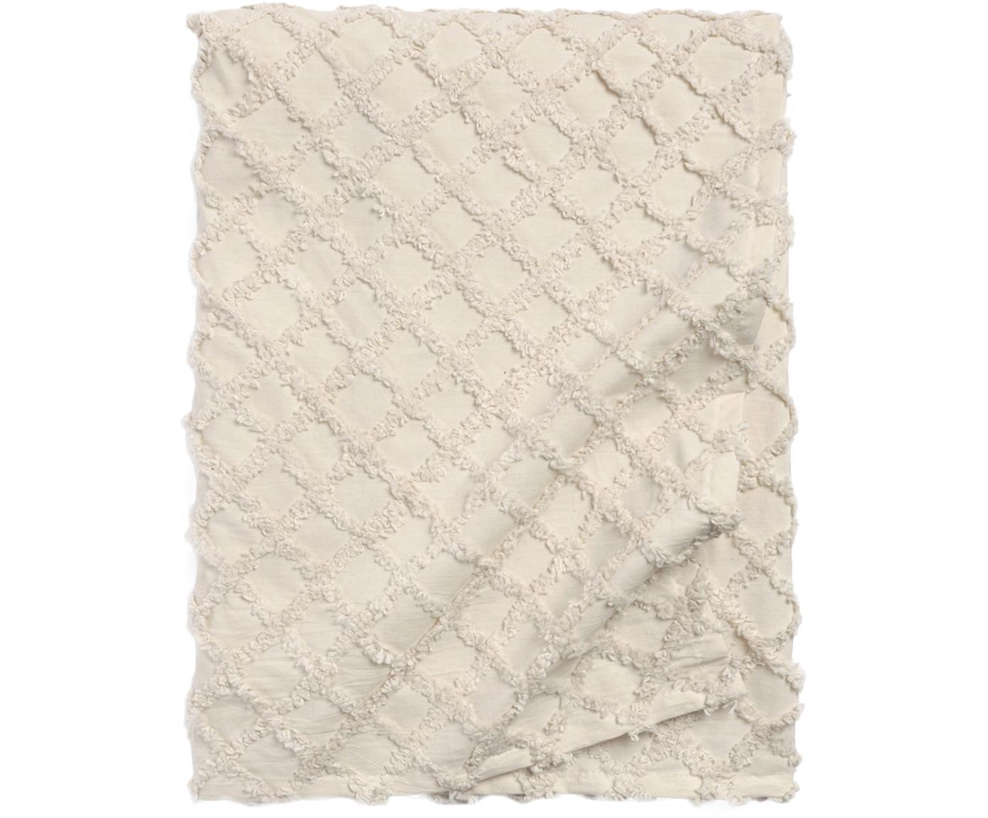 Narzuta z wypukłym wzorem Royal, 100% bawełna, Kremowobiały, S 240 x D 260 cm
