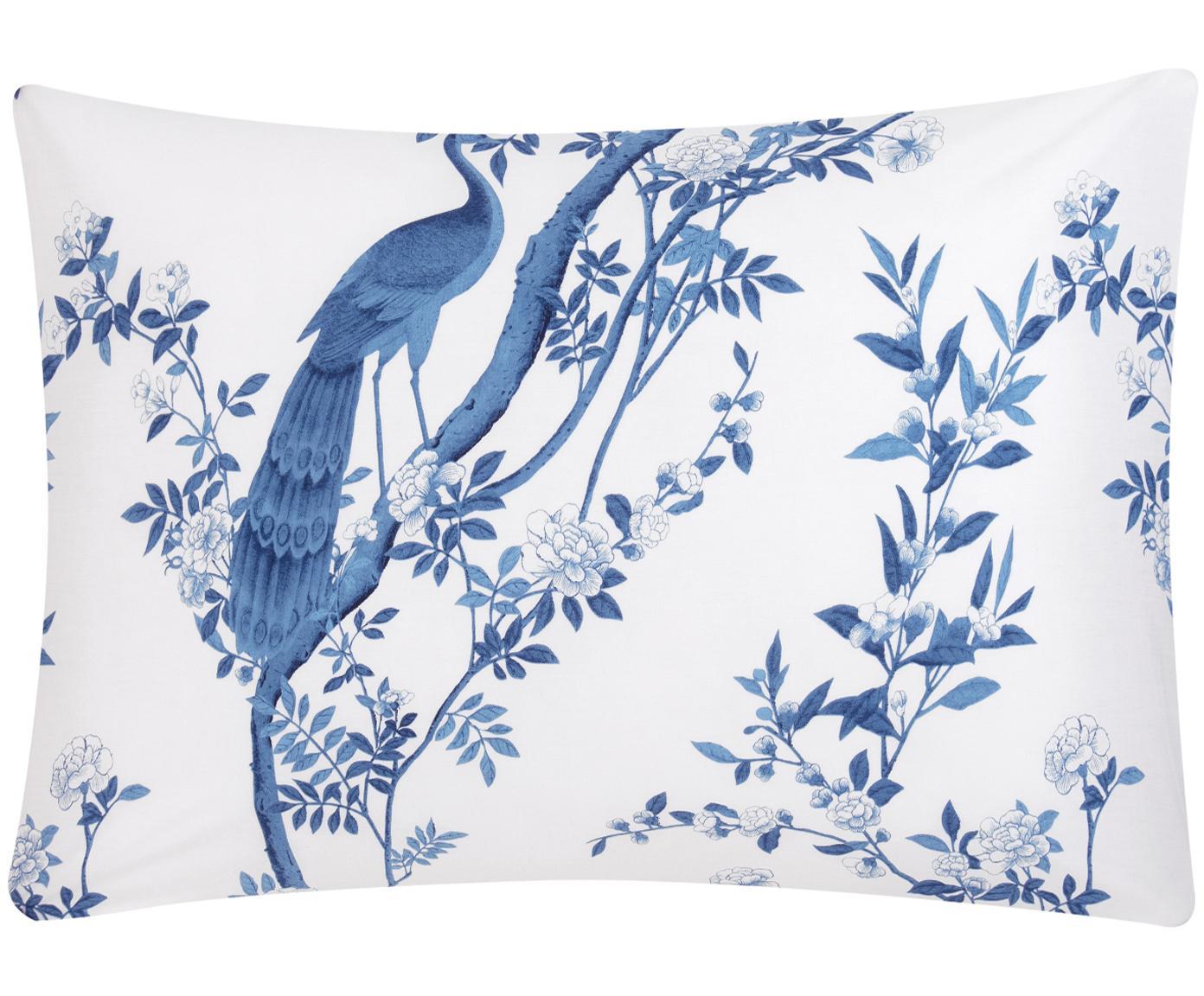 Funda de almohada de percal Annabelle, Blanco, azul, An 50 x L 70 cm