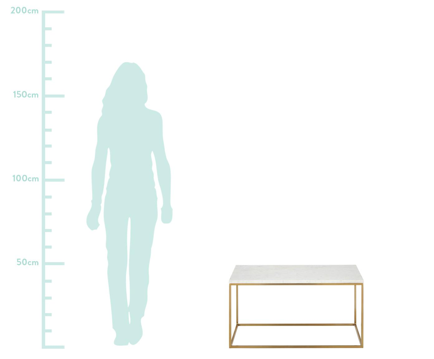 Tavolino da salotto con piano in marmo Alys, Piano d'appoggio: pietra naturale di marmo, Struttura: metallo verniciato a polv, Piano d'appoggio: marmo bianco-grigio Struttura: dorato lucido, Larg. 80 x Alt. 45 cm