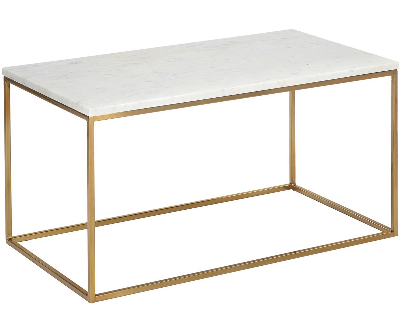 Marmeren salontafel Alys, Tafelblad: marmer, Frame: gepoedercoat metaal, Tafelblad: wit-grijs marmer. Frame: glanzend goudkleurig, 80 x 45 cm