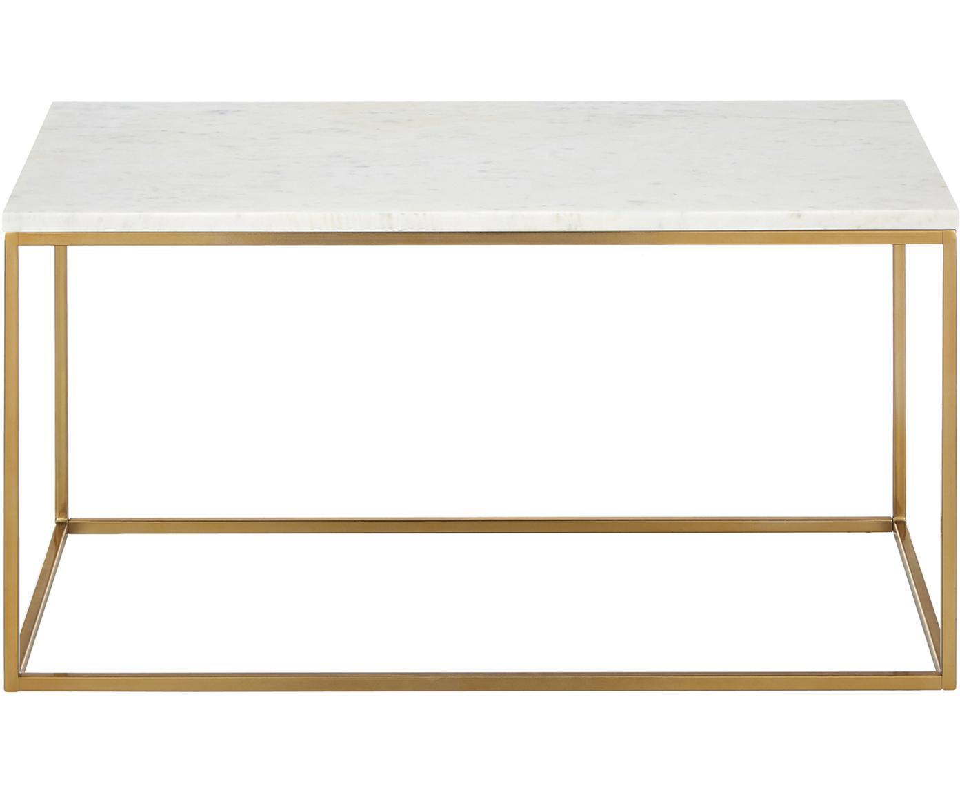 Stolik kawowy z marmuru Alys, Blat: marmur, Stelaż: metal malowany proszkowo, Blat: białoszary marmur Stelaż: odcienie złotego, błyszczący, S 80 x W 45 cm