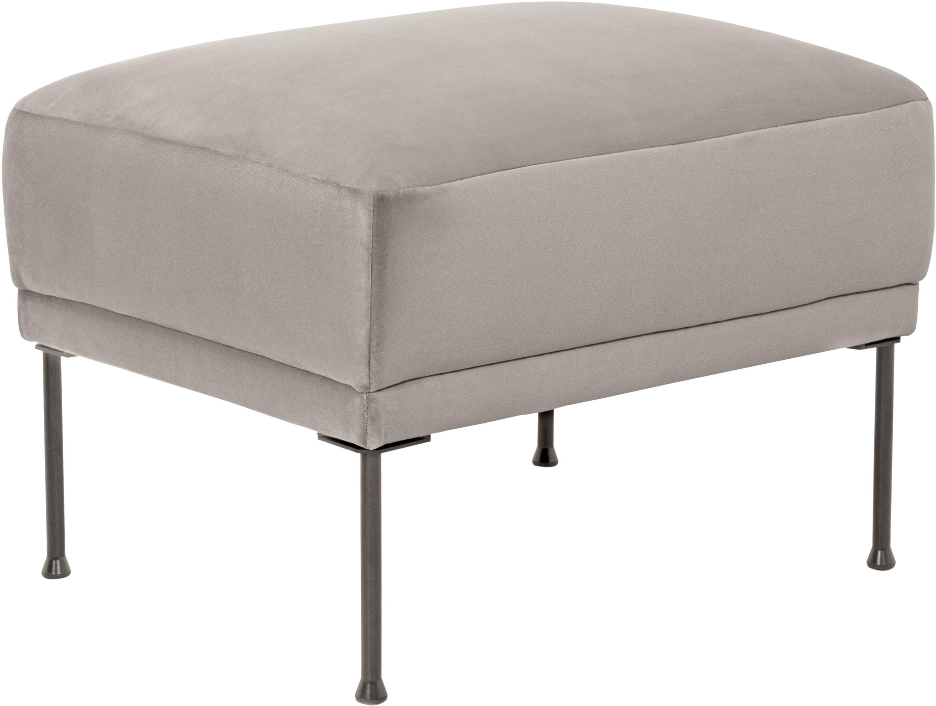 Poggiapiedi da divano in velluto beige Fluente, Rivestimento: velluto (rivestimento in , Struttura: legno di pino massiccio, Piedini: metallo verniciato a polv, Velluto beige, Larg. 62 x Alt. 46 cm