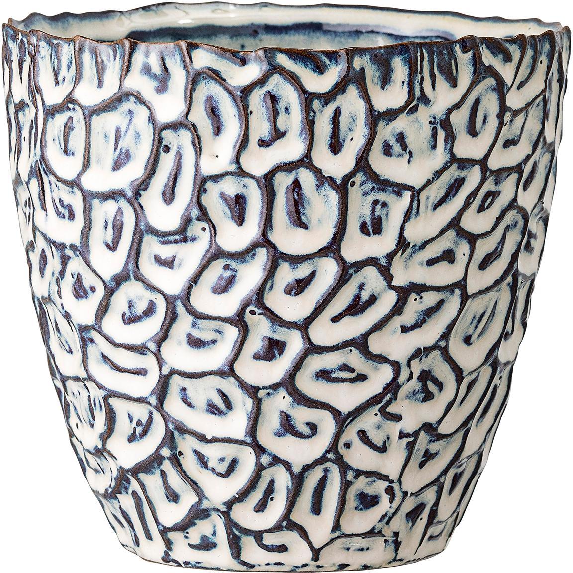 Handgefertigter Übertopf Bonia aus Steingut, Steingut, Weiss, Blau, Ø 14 x H 14 cm