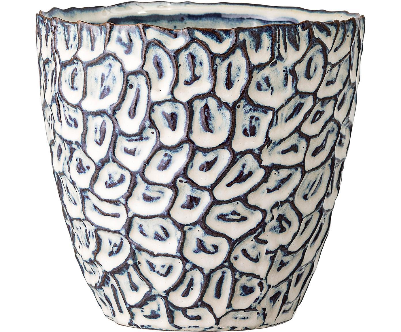 Ręcznie wykonana osłonka na doniczkę Bonia, Kamionka, Biały, niebieski, Ø 14 x W 14 cm