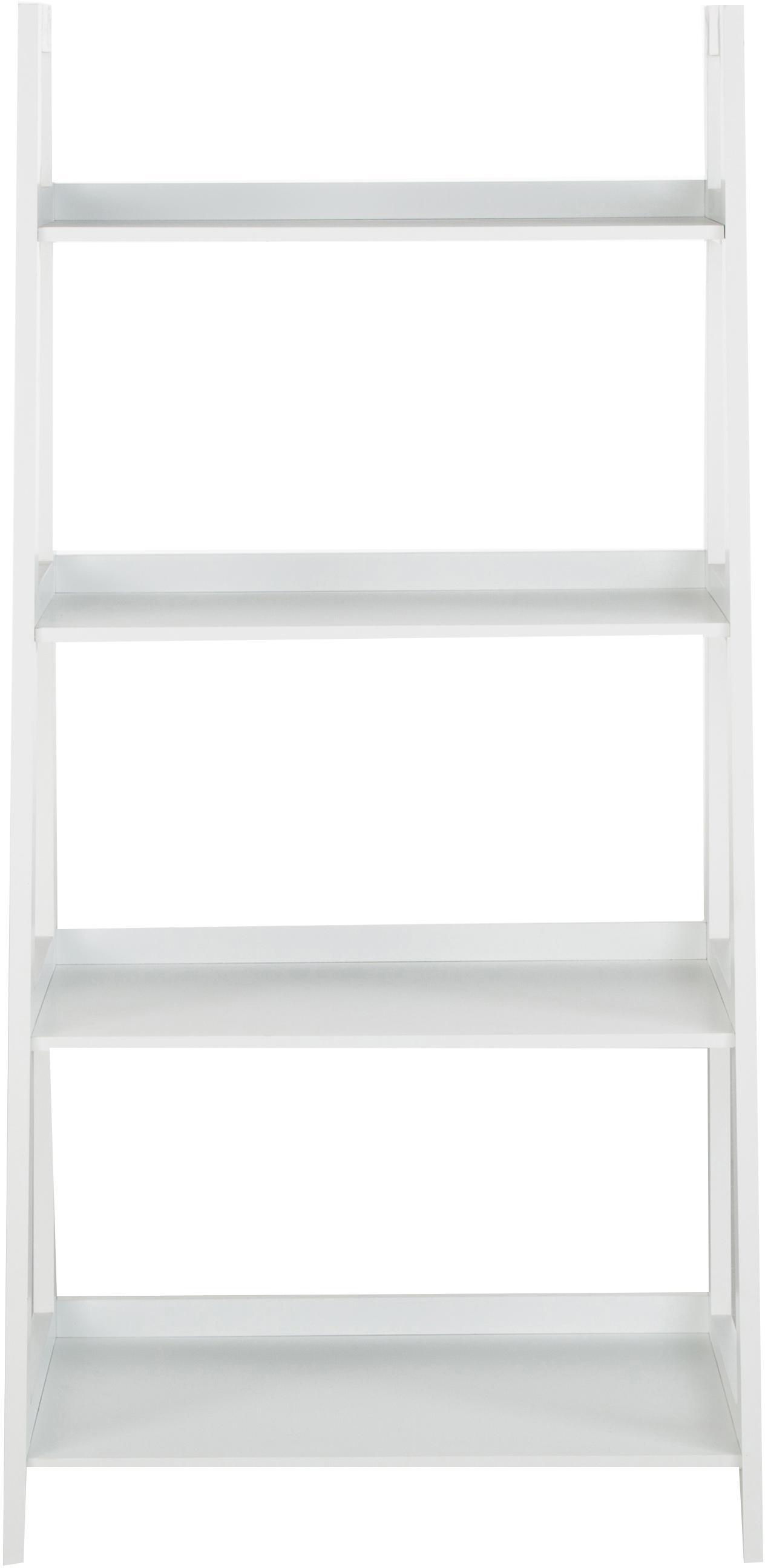 Standregal Wally in Weiß, Mitteldichte Holzfaserplatte (MDF), lackiert, Weiß, hochglanz, 63 x 130 cm