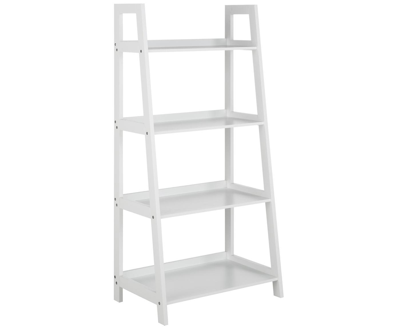 Libreria a scala bianca Wally, Pannello di fibra a media densità (MDF) verniciato, Bianco lucido, Larg. 63 x Alt. 130 cm