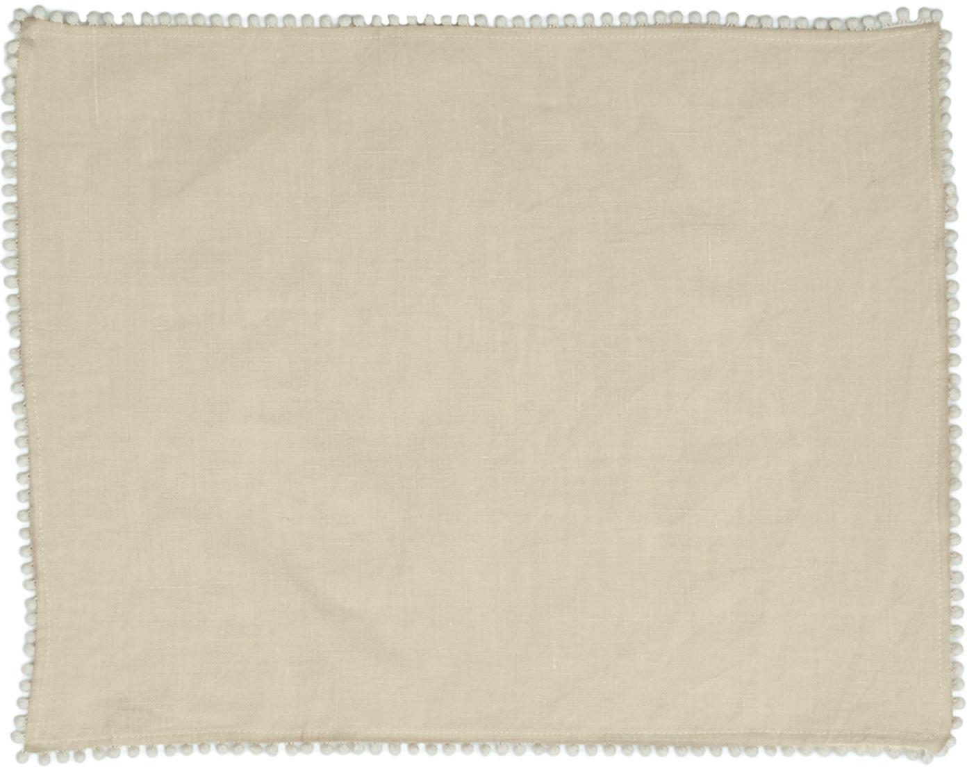 Manteles individuales de lino Pom Pom, 2uds., Lino, Beige, An 35 x L 45 cm