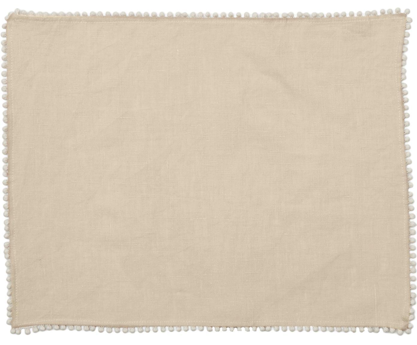 Leinen -Tischsets Pom Pom, 2 Stück, Leinen, Beige, 35 x 45 cm
