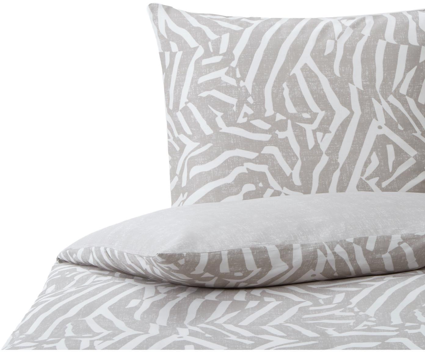 Gemusterte Baumwollsatin-Bettwäsche Adria, Webart: Satin Baumwollsatin wird , Taupe, Weiß, 135 x 200 cm + 1 Kissen 80 x 80 cm