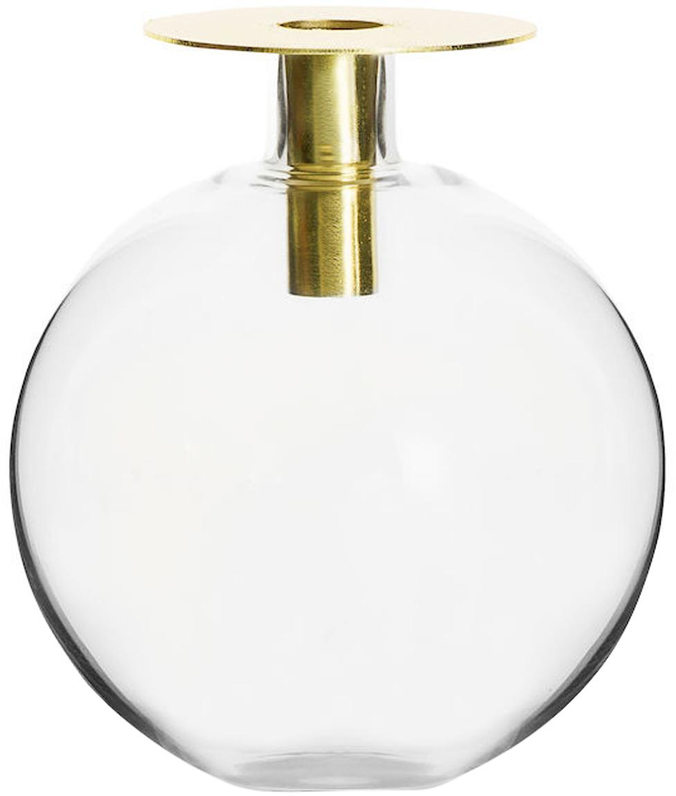 Glas-Vase Aniela, Vase: Glas, Messingfarben, Transparent, Ø 14 x H 18 cm